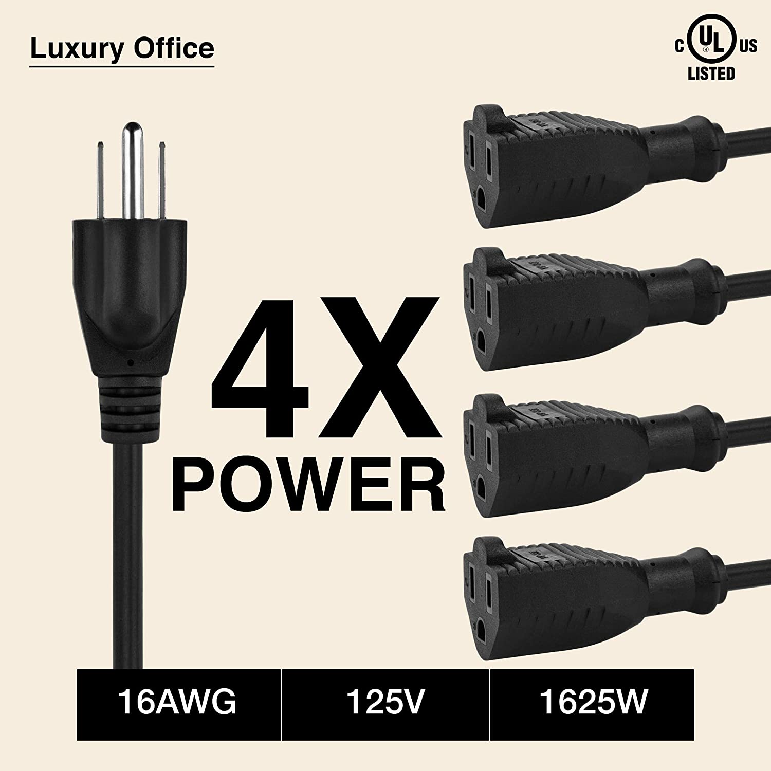 4 Way Power Splitter – 1 to 4 Cable Strip With 3 Pronged Outlet and 3