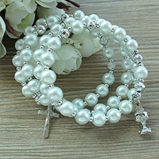12 Pcs Catholic First Holy Communion Glass Pearl Rosary Bracelet with Gift Bag