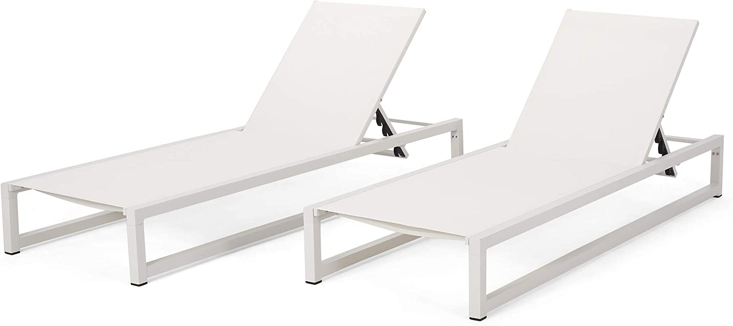 Christopher Knight Home Jerome Outdoor Aluminum Chaise Lounge with Mesh Seating (Set of 2), White