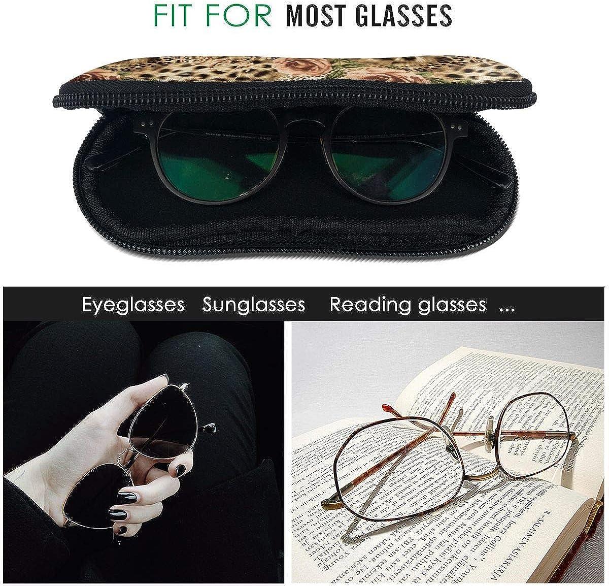Striped Leopard Print Floral Sunglasses Soft Case Ultra Light Neoprene Zipper Eyeglass Case With Key Chain