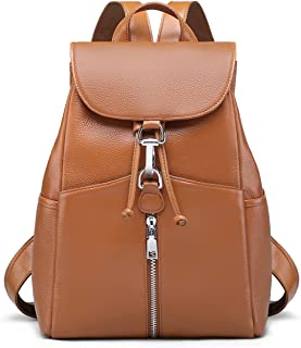 New Women Real Genuine Leather Backpack Purse vintage SchoolBag by Coolcy (Brown)