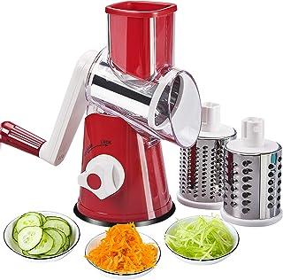 FAVIA Trancheuse à main rotative pour légumes, Râpe à Légumes Manuelle-Multifonctions Trancheur de Tambour,Avec 3 Lames en...