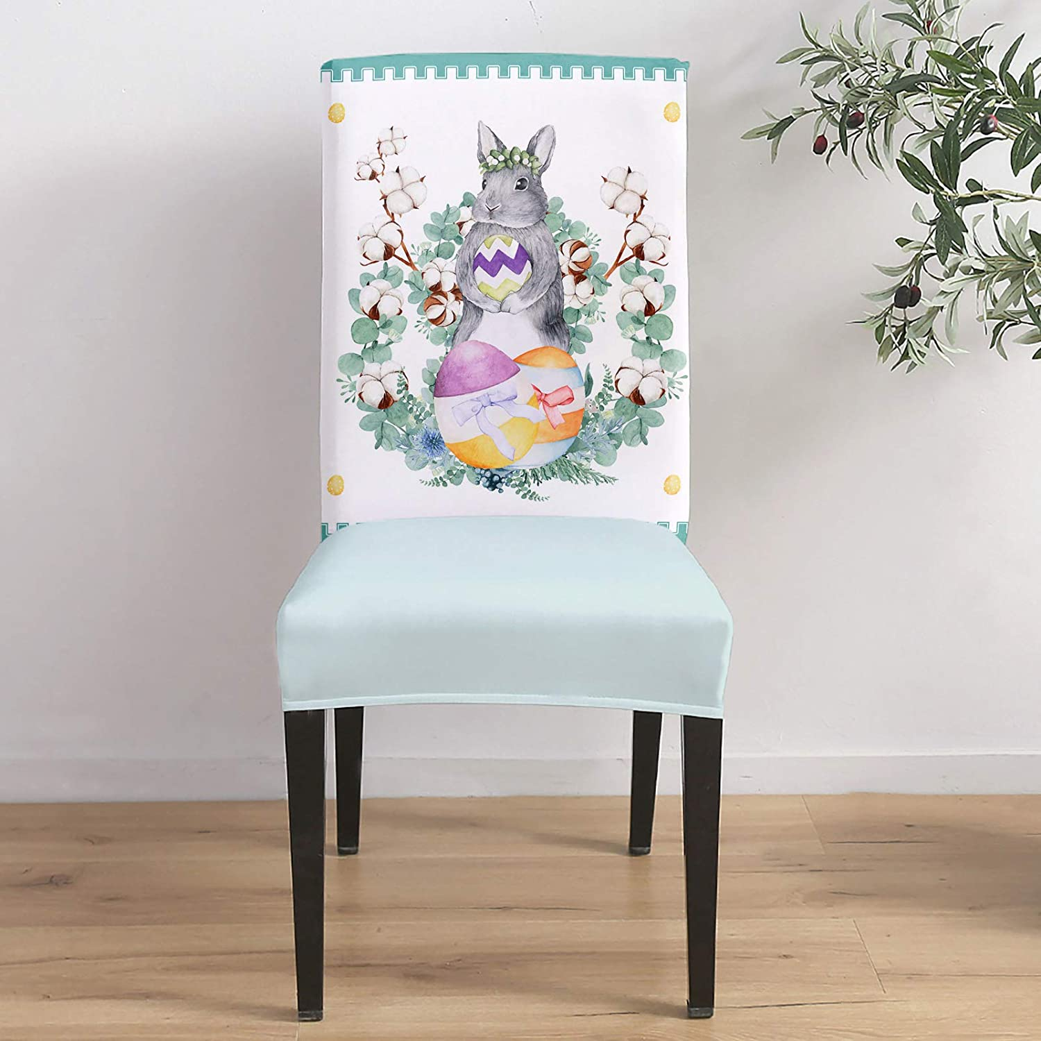 Denver Mall Dining Room Max 74% OFF Stretch Chair Cover Easter Bunny Gray Cute Slipcover