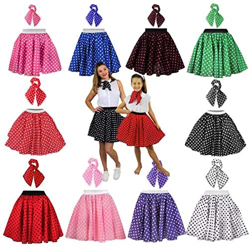 c103d22df140 LADIES POLKA DOT SKIRT 1950'S FANCY DRESS COSTUME - 26