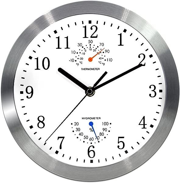 Magho 电动无声无褥套室内挂钟温度湿度玻璃盖银色铝合金金属边框月