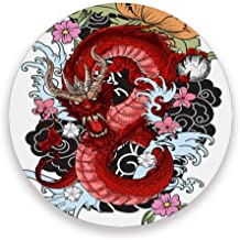 Blueangle Tattoo The Old Dragon Pattern Ceramic Coasters for Drinks, 3.9 Inch Coasters Set of 4, Tabletop Protection and Prevents Furniture Damage - Easy to Clean