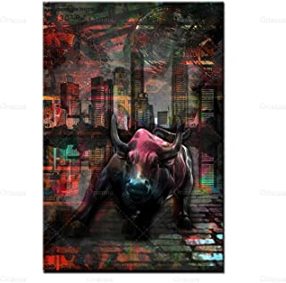 """Raging Bull Bitcoin Stock Market Money Cryptocurrency Canvas Wall Art Prints Posters Picture Office Home wall Decor 23.6""""x..."""