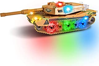 ArtCreativity Light-Up Military Tank - Cool Light-Up Toy for Boys with Cute Sounds - Battery Operated Bump n' Go Army Force Truck Best Gift for Boys Ages 3+, Batteries not Included