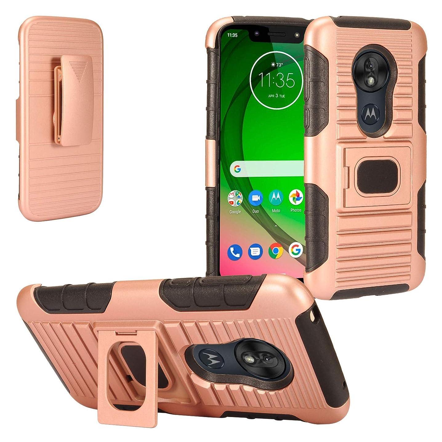 Z-GEN - for Motorola Moto G7 Play, G7 Optimo XT1952/DL - Defender Hybrid Phone Case w/Stand/Belt Clip Holster - ST5 Black/Rose Gold