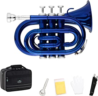 EastRock Pocket Trumpet Blue Lacquer Brass Bb Pocket Trumpet for Beginners,Students or Intermediate with Standard 7C Trumpet Mouthpiece,Hard Pocket Trumpet Case,Strap,White Gloves&Cleaning Cloth
