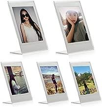 "Woodmin 3-inch Acrylic ""L"" Vertical Clear Photo Frame for Fujifilm Instax Mini 9 8 8+ 70 7s 25 50s 90, Polaroid Z2300, Polaroid PIC-300P Films (5 Pieces)"