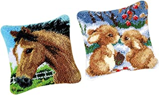 Baosity 2 Sets Latch Hook Kits for Girls Rabbits Horse DIY Pillow Cover Sofa Cushion Embroidery