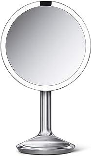 "Simplehuman Sensor Lighted Makeup Vanity Mirror SE، 8 ""Round، 5X ذره بین، فولاد ضد زنگ، برس"