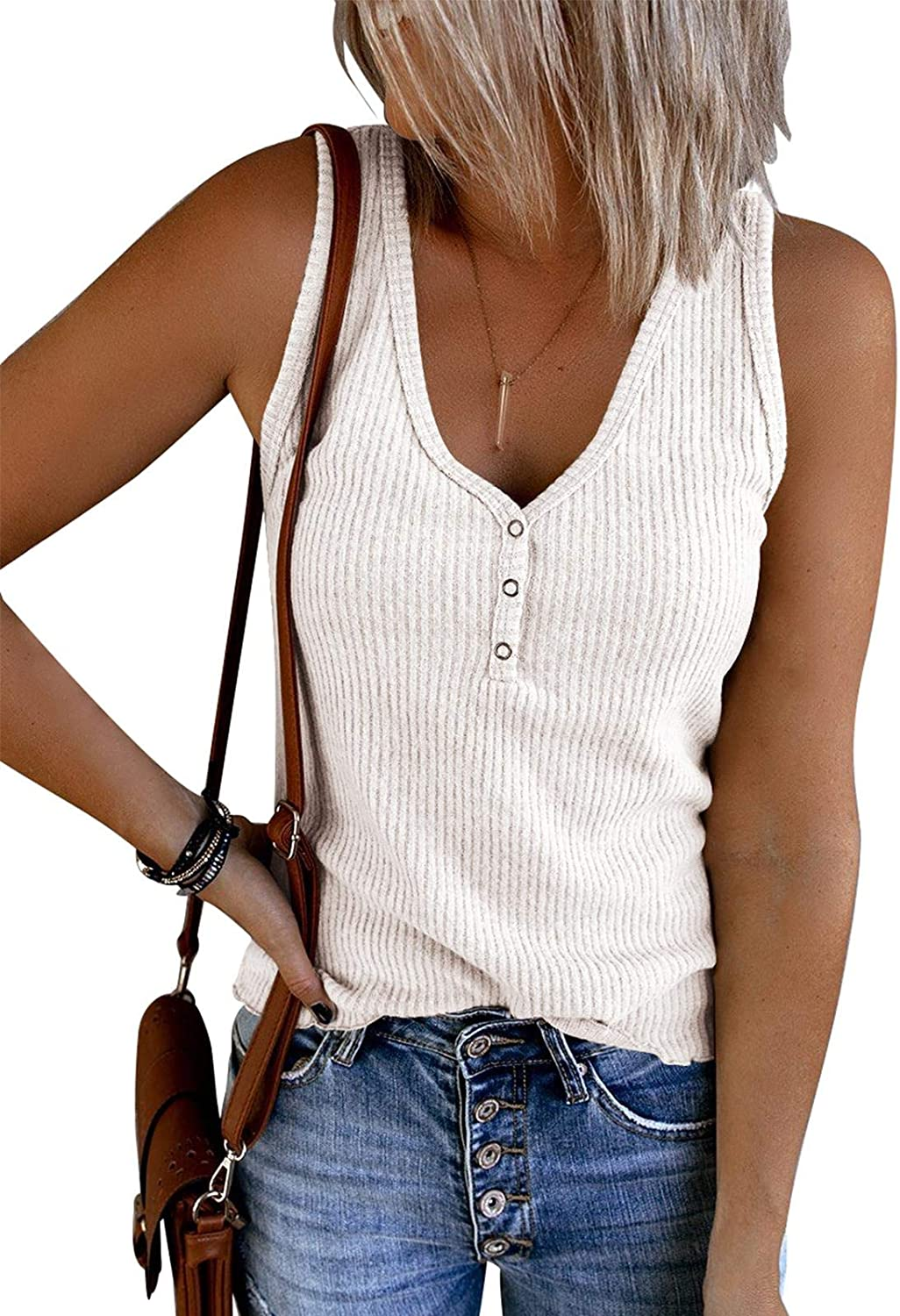 Ybenlow Womens V Neck Tank Tops Sleeveless Henley Shirts Ribbed Knit Button Up Casual Vest Blouse Tees