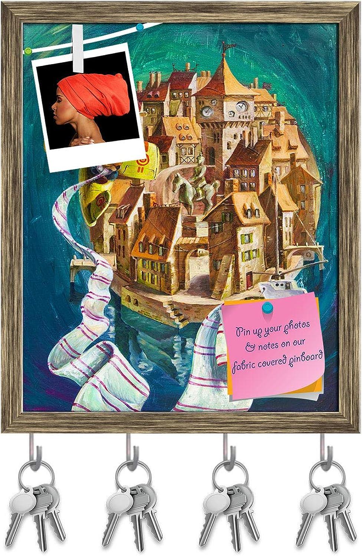 Artzfolio Cartoon Airplane Key Holder Hooks   Notice Pin Board   Antique golden Frame 16 X 19.5Inch