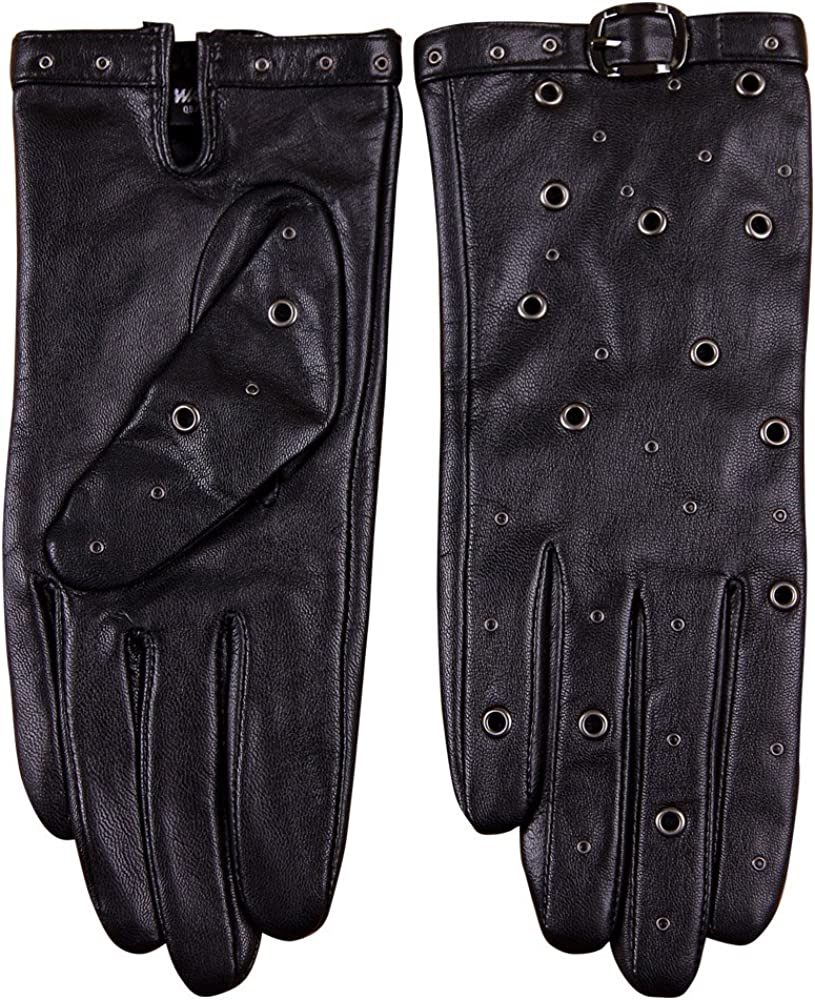 WARMEN Women's Leather Touchscreen Driving Gloves with Decorated Buckle & Rivet Puck Cool