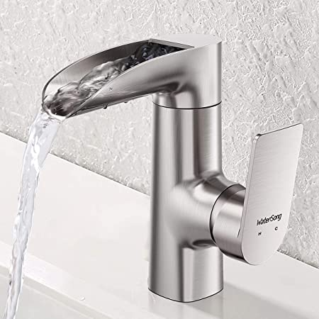 Waterfall Bathroom Faucet Single Handle Watersong Bathroom Basin Faucet Single Handle One Hole Brushed Nickel Faucet For Bathroom Sink Modern Vessel Faucet Deck Mount Vanity Faucet 100 Lead Free Amazon Com