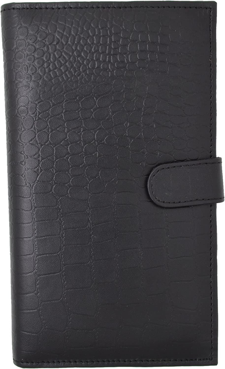 Marshal Bifold Leather RFID Blocking Wallet For Men & Women | Genuine Leather Holder With 19 Slots, 2 Bill Compartments & ID Window For Credit/Debit Cards, Money, Driver's License (Croco Black)