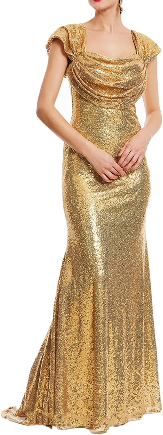Udresses Womens Square Long Sequined Evening Dress 2017 Formal Party Gown VN20