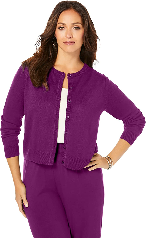 Jessica London Women's Plus Size Jewelneck Cardigan Cardigan Sweater 100% Cotton