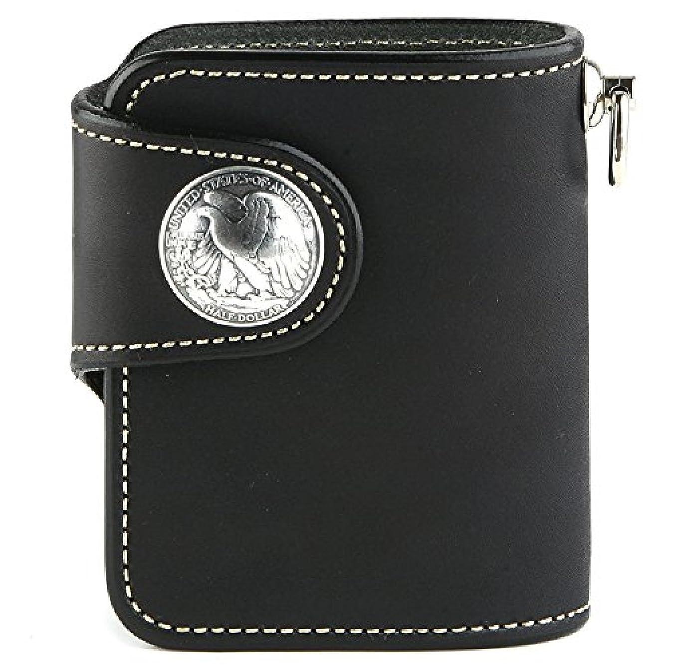 見積り代表団寛解KC,s ビルフォード ハリス カウハイド 二つ折り財布 (ブラック)
