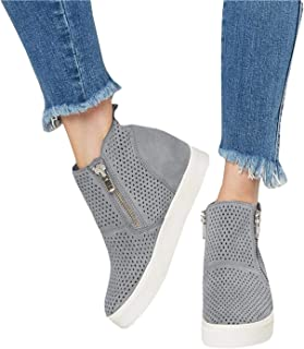 Kathemoi Womens Platform Wedge Sneakers Perforated Breathable High Top Side Zipper Ankle Booties