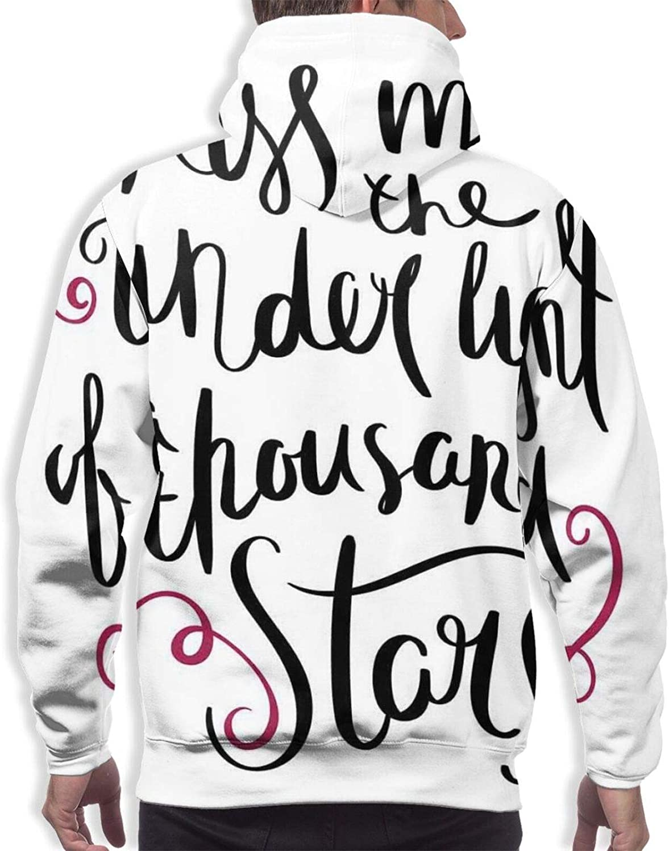 Men's Hoodies Sweatshirts,Romantic Inscription True Love Story Never Ends with Doodle Heart Shapes