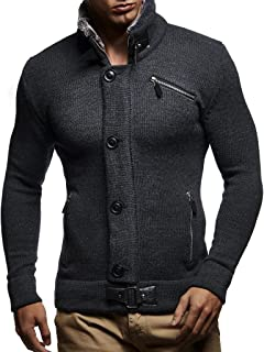 Leif Nelson LN5430 Men's Cardigan with Faux Fur Collar