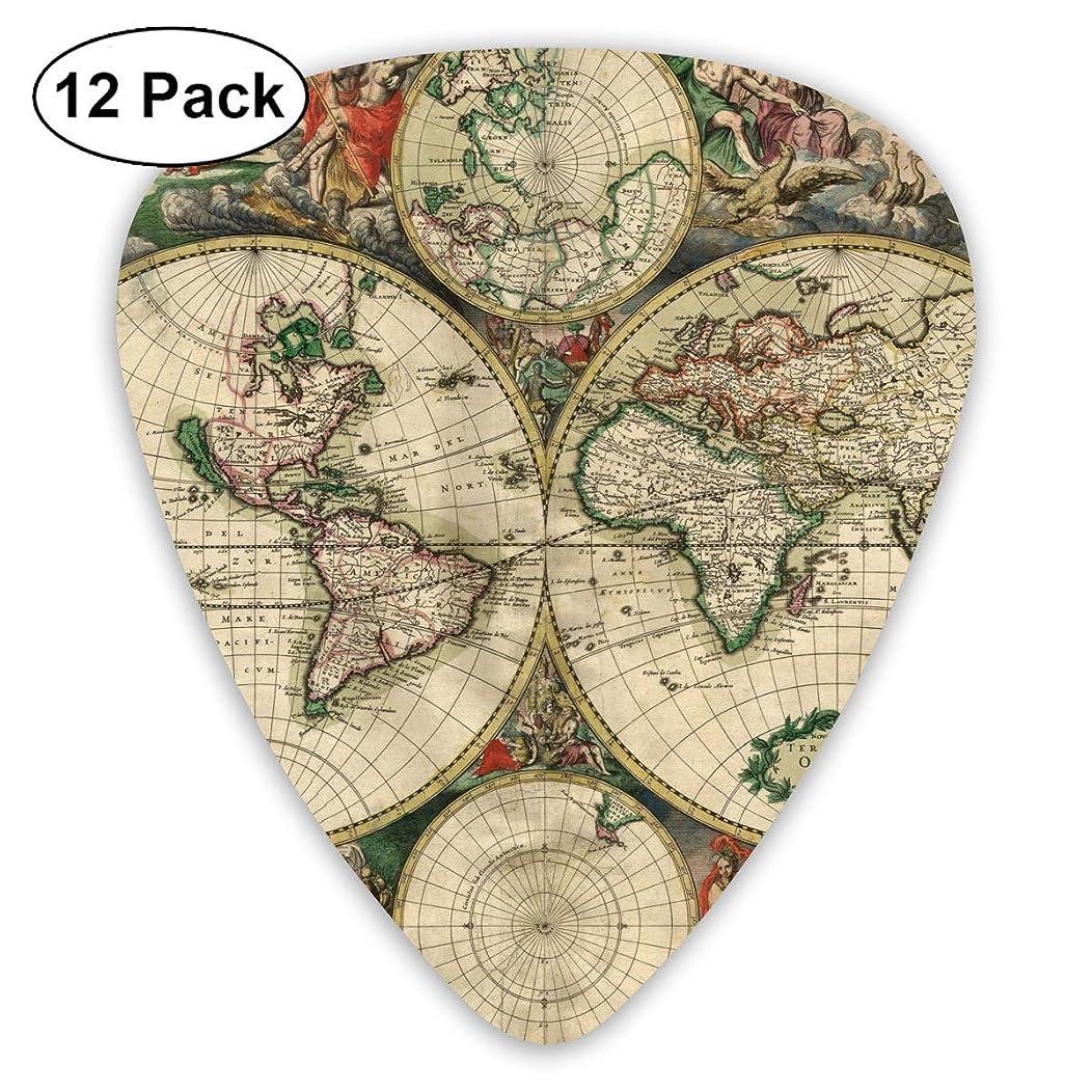 351 Shape Classic Guitar Picks Ancient World Map Plectrums Instrument Standard Bass 12 Pack