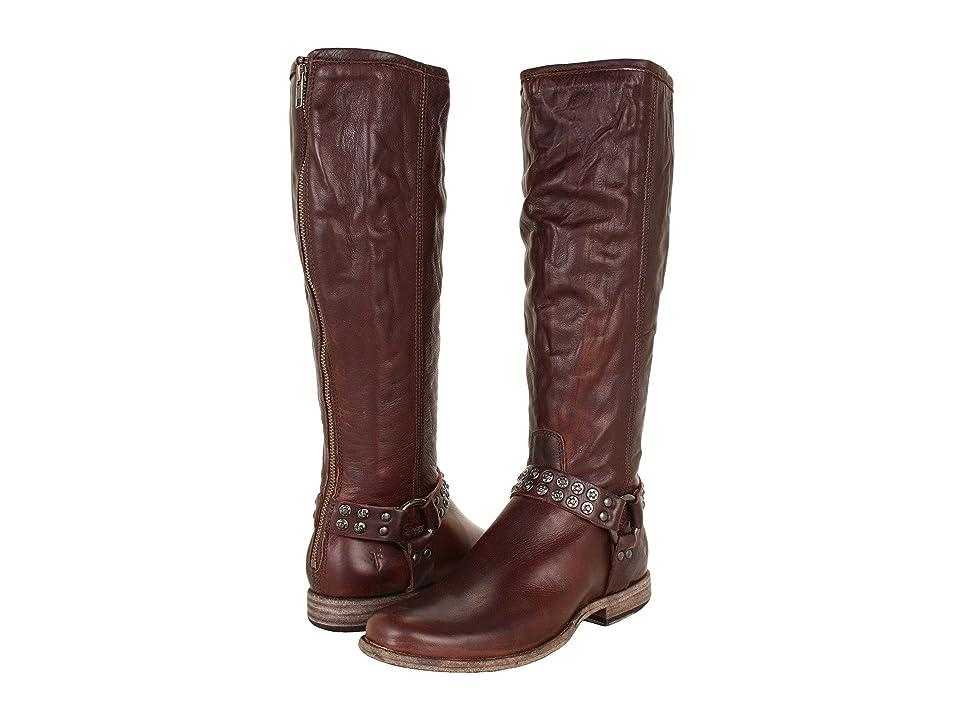 Frye Phillip Studded Harness Tall (Dark Brown Soft Vintage Leather) Women