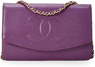 96086049f CHANEL Purple Caviar Timeless Classic Wallet on Chain (WOC) (Pre-Owned)