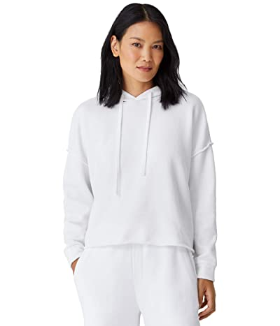Eileen Fisher Organic Cotton French Terry Cropped Hoodie (White) Women