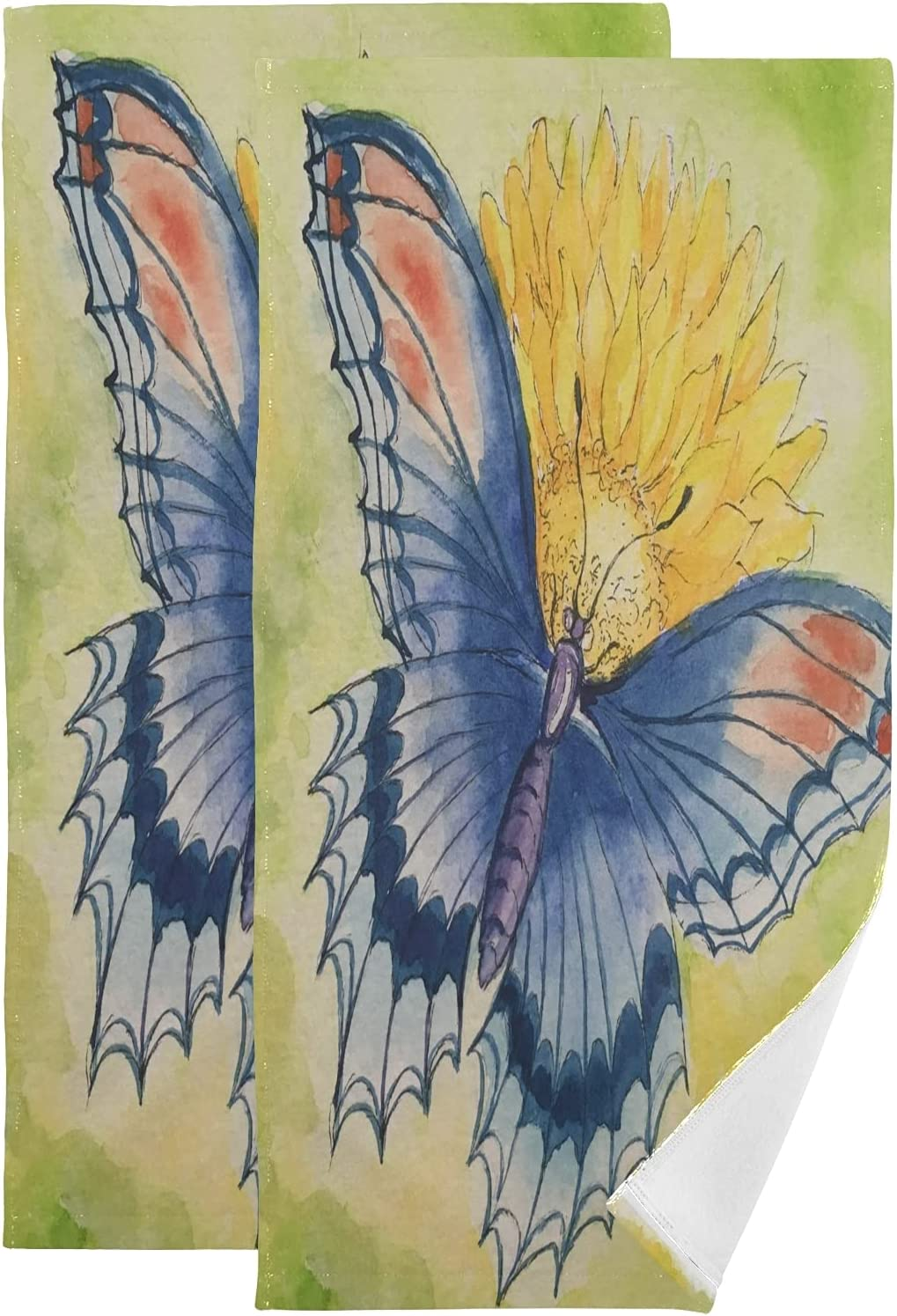 Towel Set Watercolor Butterfly Sunflower Bath Hand Towels Large Max 100% quality warranty! 42% OFF