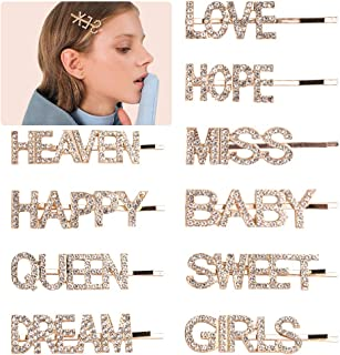 10PCS Word Hair Clip Letter Bobby Pins Sparkly Gold Barrettes Bling Handmade Luxury Crystal Hair Jewellery Headwear Accessories for Women Girls