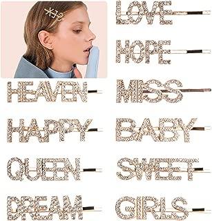 crystal word hair clips