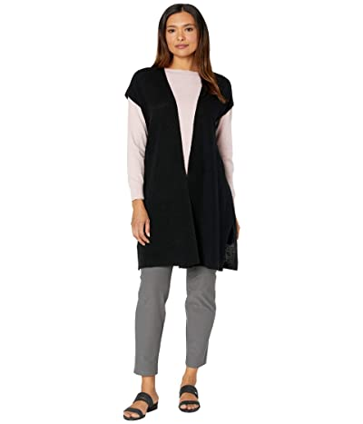 Eileen Fisher Organic Linen Cotton Long Vest (Black) Women