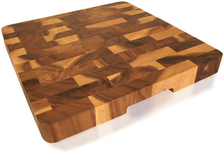 Rgold Wood Square End-Grain Chef Cutting Board, 14 Inch Acacia Square