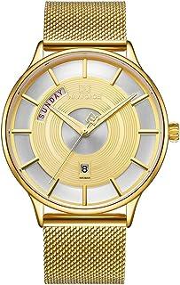 ساعة يد عصرية للرجال مقاومة للماء تناظرية مع عرض التاريخ الأسبوع مع سوار شبكي من الفولاذ المقاوم للصدأ