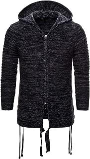 Fashion Men's Raglan Sleeve Solid Pleated Drawstring Curved Hem Hooded Sweatshirts