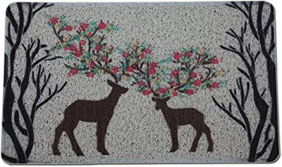 LEEBEI Entrance Doorway Mat. Home Entrance,Bathroom/Kitchen Entrance,Scraping Mat,Bottom Rubber Non-Slip,Easy to Clean (29.5 × 17.7 inch, L-Deer)