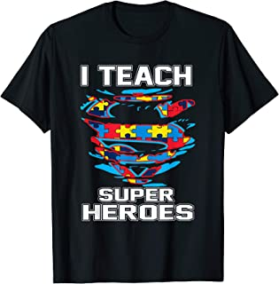 Super Teacher Autism Awareness Tshirt I Teach Superheroes