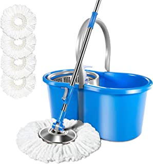 Spin Mop and Bucket System with 3 Mop Pads 5L Stainless Steel Bucket with Detergent Dispenser Home Floor Cleaning Masthome