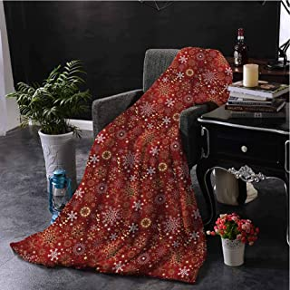 hengshu Christmas Bedding Fleece Blanket Queen Size Ornate Snowflakes with Floral Artistic Swirls and Vivid Hearts Pattern Super Soft Cozy Queen Blanket W54 x L72 Inch Gold White and Red