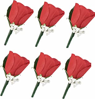 Angel Isabella Set of 6 Apple Red Rose Boutonniere with Pin for Prom, Party, Wedding