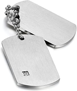 Mens Army Style Stainless Steel Double Dog Tag Pendant Necklace with 22