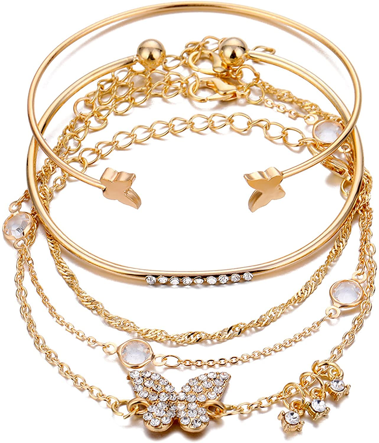 Layered Stacking Link Chain Butterfly Honeycomb Bracelet Bangle Set Bohemian Paperclip Rhinestone Bead for Women Girl Teen Teen 14K Gold Plated Animal Jewelry