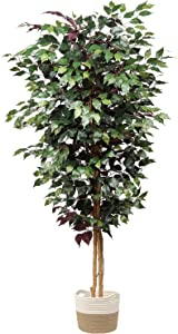 plant Artificial Ficus Tree 6ft in Cotton Pot Fake Silk Plant with Green Red Leaves Natural Trunk for Indoor Outdoor Home Garden Decor