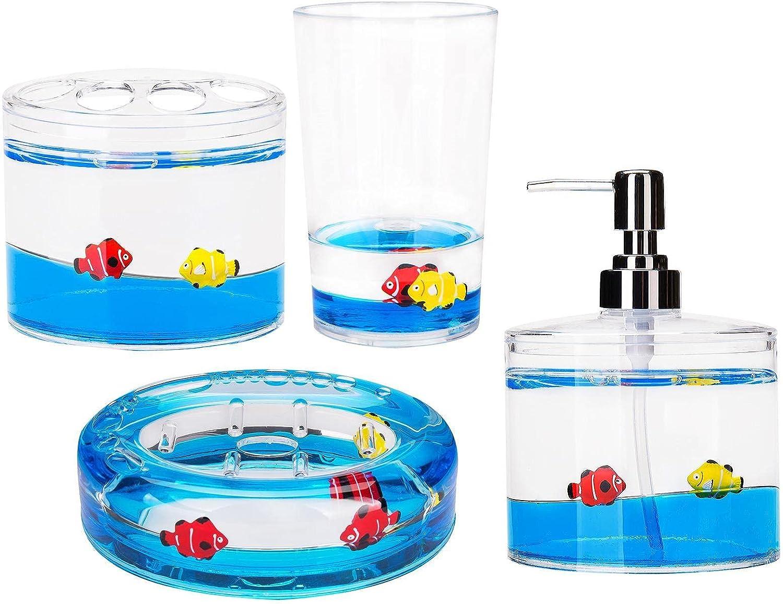 4 New product Piece Acrylic Bathroom Translated Vanity Deco Accessory Fish Set