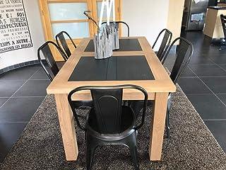 Chalet Table Salle à Manger chêne Massif Industriel (Ardoise)