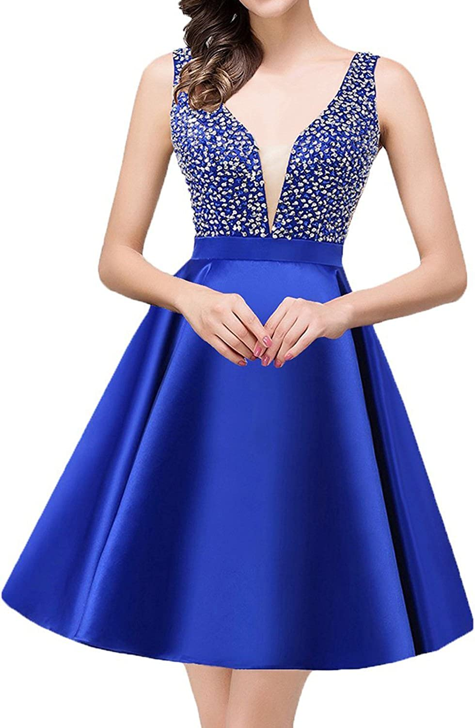 JoyVany Women Sexy VNeck Sequin Homecoming Dresses Short 2018 Prom Gowns JH029